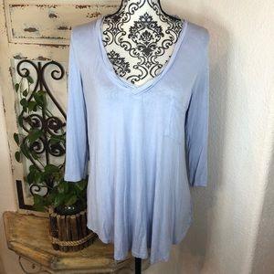 Bordeaux lt blue 3/4 sleeve tee shirt